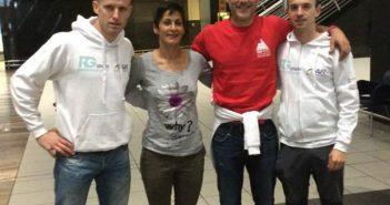Marcos Muíño -primeiro pola esquerda- participa na proba xunto con outros dous deportistas galegos e unha británica