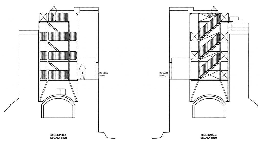 A torre da homenaxe levará no interior unha estrutura que permitirá subir á súa parte máis alta