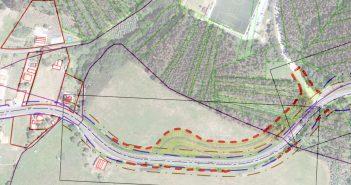 Plano de elaboración propia onde se ve como vai quedar o novo enlace co campo de fútbol de Corrás