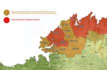 Mapa de elaboración propia coas zonas tampón e de prohibición na nosa zona (Base cartográfica IET-Xunta de Galicia)