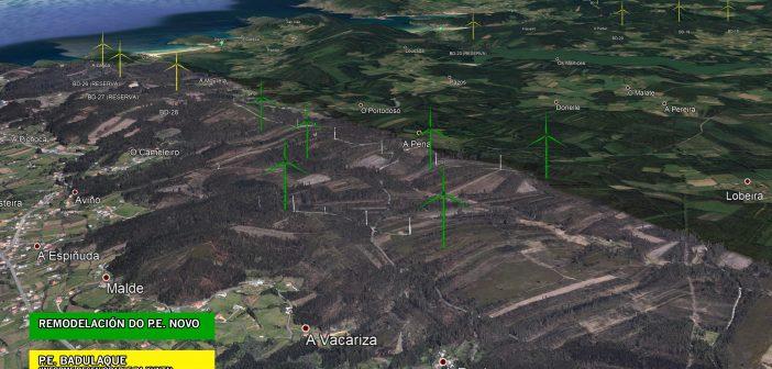 """En verde, novas posicións dos aeroxeradores do P.E. """"Novo"""". Ao fondo, en cor amarela, parte do P.E. """"Badulaque"""" que a Xunta acaba de informar desfavorablemente. Picando na imaxe pode verse a maior tamaño."""