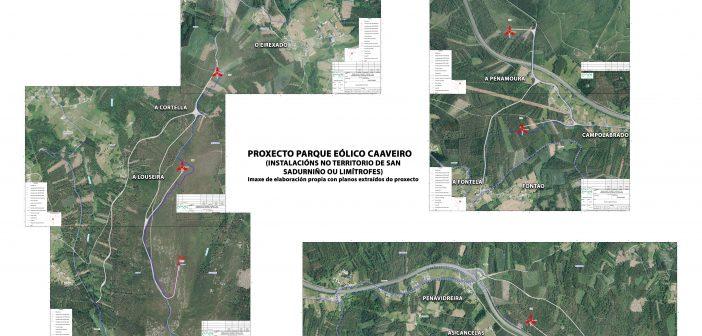 Plano de elaboración propia -tomando como base imaxes do proxecto- do parque eólico Caaveiro (zona Naraío). Picando na imaxe pode verse e descargarse a alta resolución